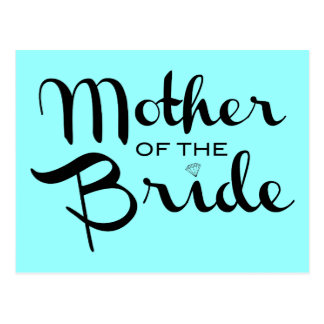 Mother of Bride Retro Script Black On Aqua Postcard