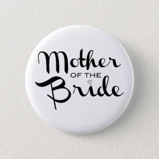 Mother of Bride Retro Script Black on White Button