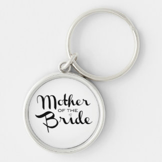 Mother of Bride Retro Script Black on White Keychain