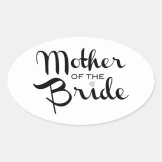 Mother of Bride Retro Script Black on White Oval Sticker