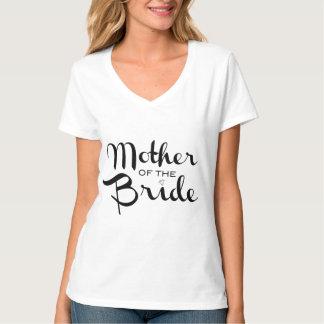 Mother of Bride Retro Script Black on White Shirts