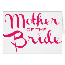 Mother of Bride Retro Script Hot Pink On White Card