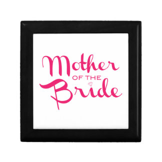 Mother of Bride Retro Script Hot Pink On White Jewelry Box