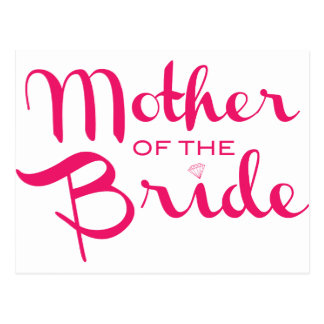 Mother of Bride Retro Script Hot Pink On White Postcard