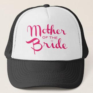 Mother of Bride Retro Script Hot Pink On White Trucker Hat