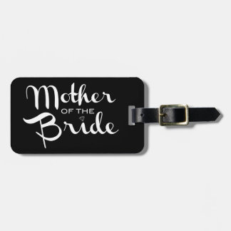 Mother of Bride Retro Script White on Black Bag Tag