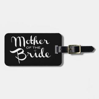 Mother of Bride Retro Script White on Black Bag Tag