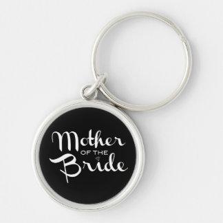 Mother of Bride Retro Script White on Black Keychain