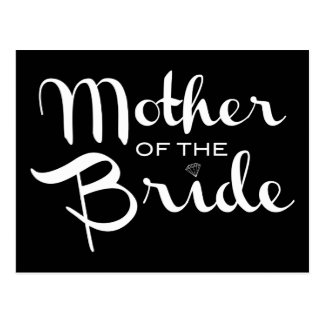 Mother of Bride Retro Script White on Black Postcard