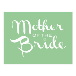 Mother of Bride Retro Script White on Green Postcard