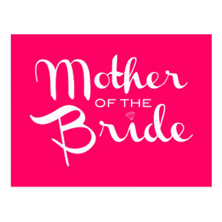 Mother of Bride Retro Script White on Hot Pink Postcard