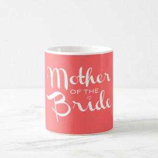 Mother of Bride Retro Script White on Peach Coffee Mug