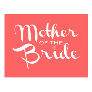 Mother of Bride Retro Script White on Peach Postcard