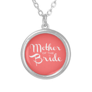 Mother of Bride Retro Script White on Peach Silver Plated Necklace