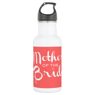 Mother of Bride Retro Script White on Peach Stainless Steel Water Bottle