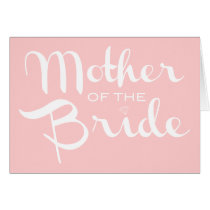 Mother of Bride Retro Script White On Pink