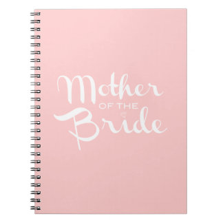 Mother of Bride Retro Script White On Pink Spiral Notebook