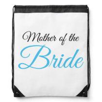 Mother of Bride Script Blue Drawstring Backpack