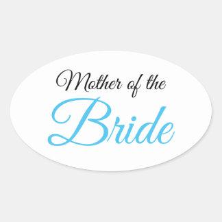 Mother of Bride Script Blue Oval Sticker