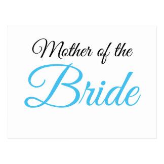 Mother of Bride Script Blue Postcard
