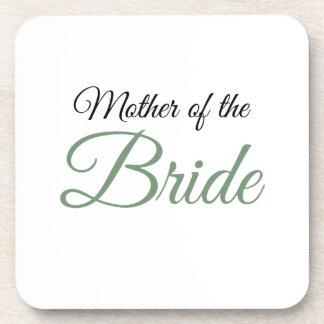 Mother of Bride Script Green Beverage Coaster