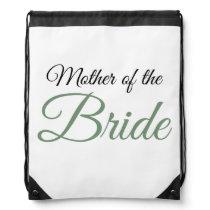 Mother of Bride Script Green Drawstring Bag