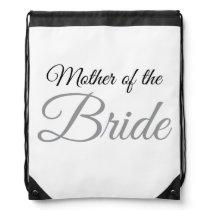 Mother of Bride Script Grey Drawstring Backpack