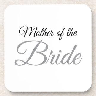 Mother of Bride Script Grey Drink Coaster