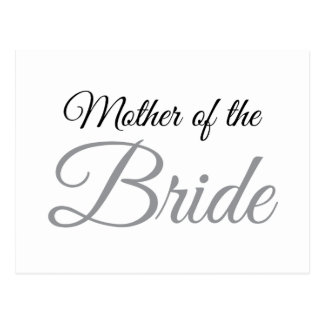 Mother of Bride Script Grey Postcard