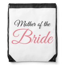 Mother of Bride Script Pink Drawstring Bag