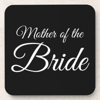 Mother of Bride Script White on Black Drink Coaster