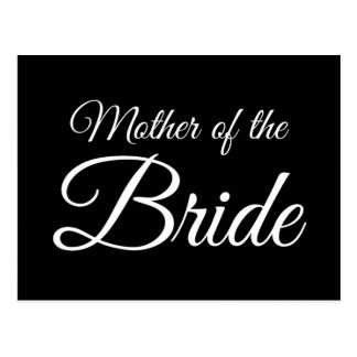 Mother of Bride Script White on Black Postcard