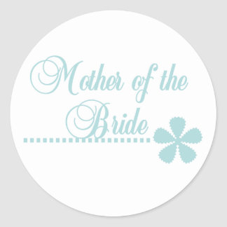 Mother of Bride Teal Elegance Classic Round Sticker