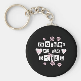 Mother of Bride White on Black Keychain