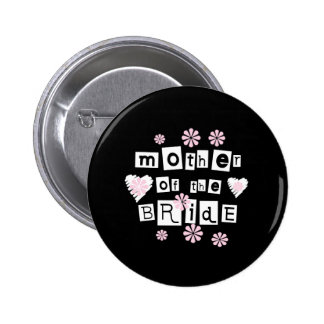 Mother of Bride White on Black Pinback Button