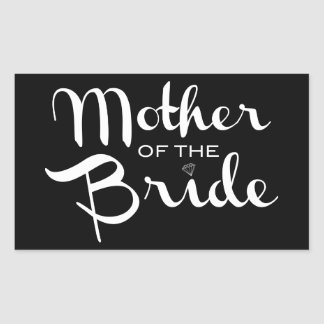 Mother of Bride White on Black Stickers
