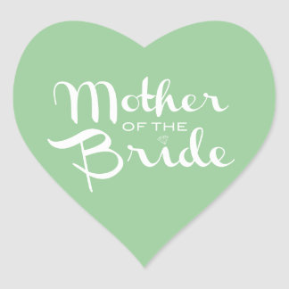 Mother of Bride White on Green Sticker