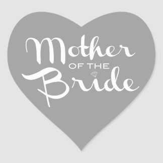 Mother of Bride White on Grey Heart Stickers