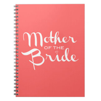 Mother of Bride White on Peach Spiral Notebook