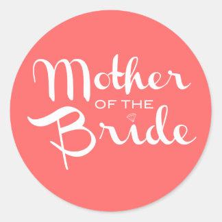 Mother of Bride White on Peach Sticker