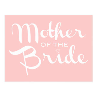 Mother of Bride White On Pink Post Card