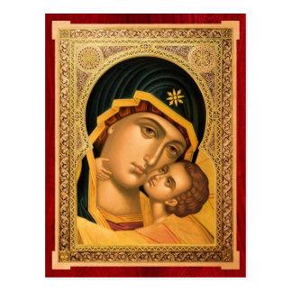 Mother of God Glykophilousa – Icon card Postcard