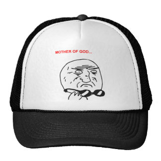 Mother of God Rage Face Comic Meme Mesh Hats