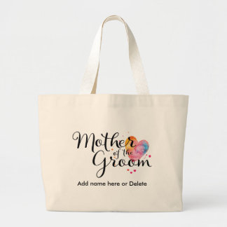 Mother of Groom Large Canvas Tote Bag Watercolor