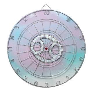 Mother of Pearl Cancer Zodiac Symbol Decor Dartboard With Darts