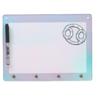 Mother of Pearl Cancer Zodiac Symbol Decor Dry Erase Board With Keychain Holder