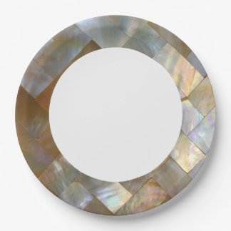 Mother of Pearl Capiz Weave Paper Plate