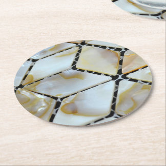 Mother of Pearl Design Round Paper Coaster