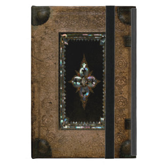 Mother Of Pearl Inlaid Old Leather Book Cover