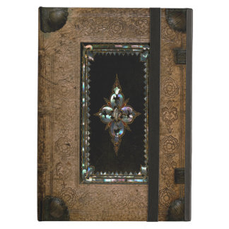 Mother Of Pearl Inlaid Old Leather Book Cover Cover For iPad Air